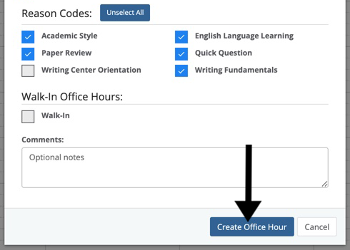 Create Office Hour button